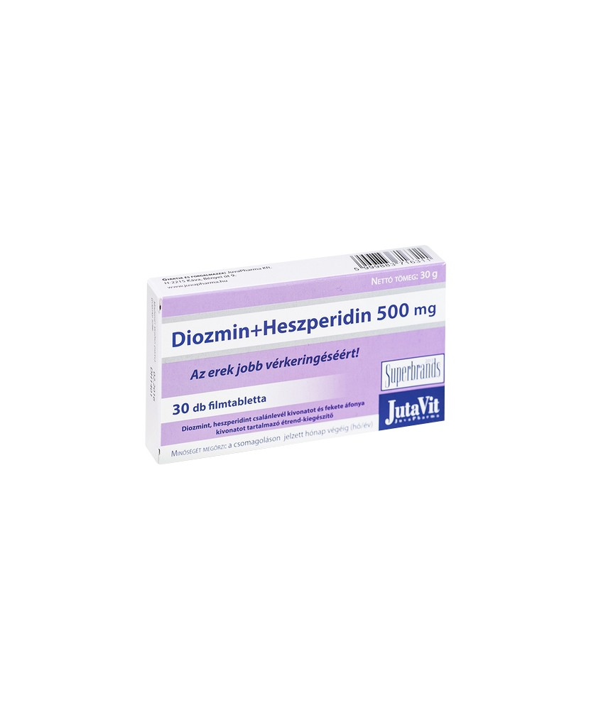 JUTAVIT DIOZMIN+HHESZPERIDIN 500MG TABL. 30X JutaVit Szív és Érrendszer 1,899.06 Dió patika online gyógyszertár internetes gy...