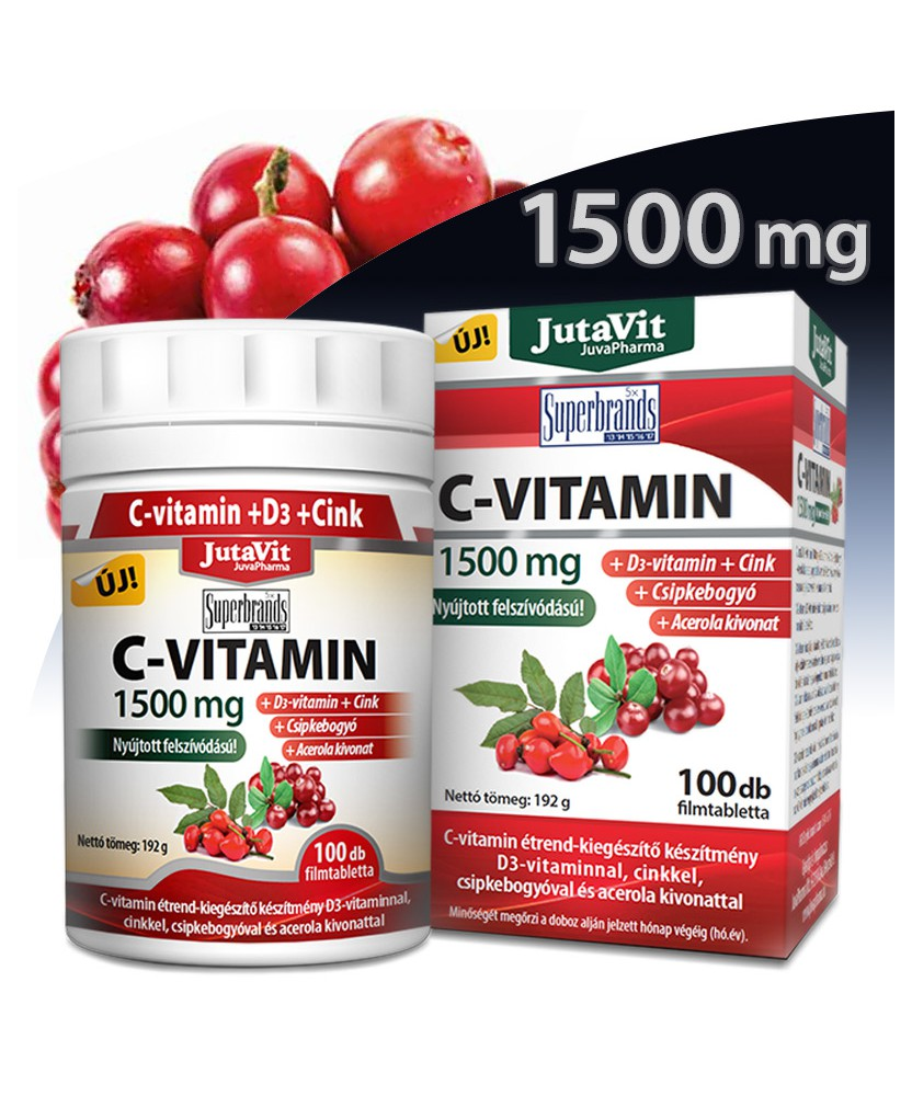 JUTAVIT C 1500MG CSIPKEB.ACER.+D-VIT.+ZINK 100X JutaVit Vitaminok és Nyomelemek  2,589.00 Dió patika online gyógyszertár inte...