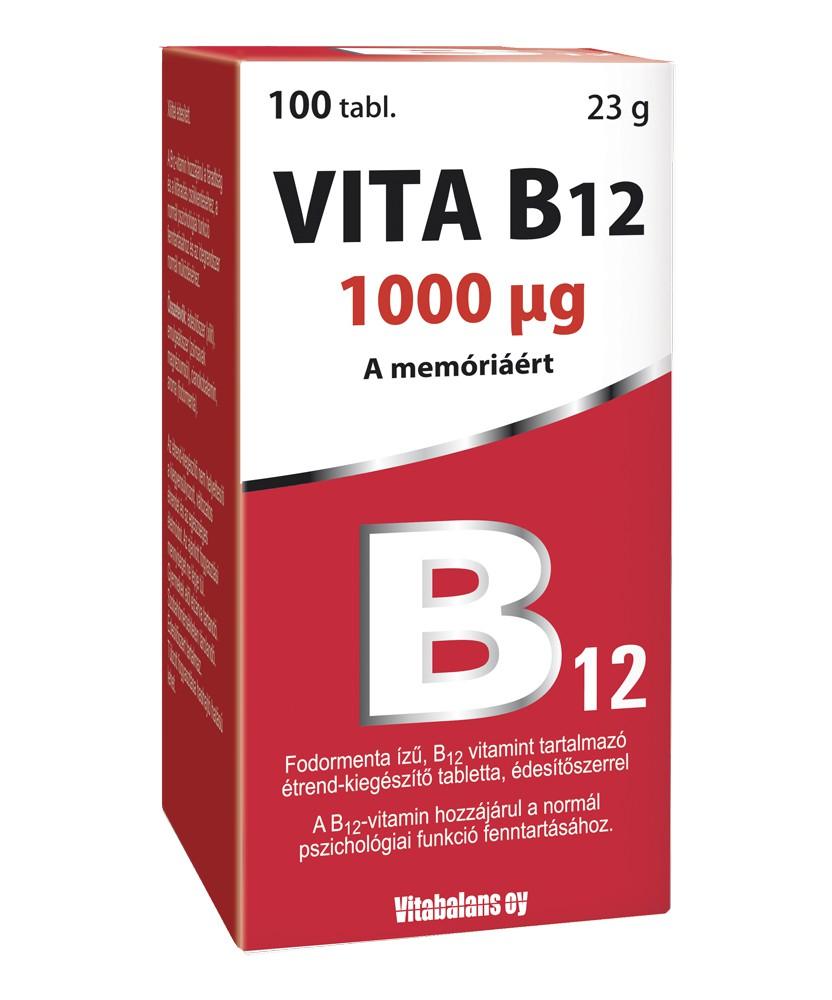 VITABALANS VITA B12 1000MCG TABL. 100X  Vitaminok és Nyomelemek  2,639.00 Dió patika online gyógyszertár internetes gyógyszer...