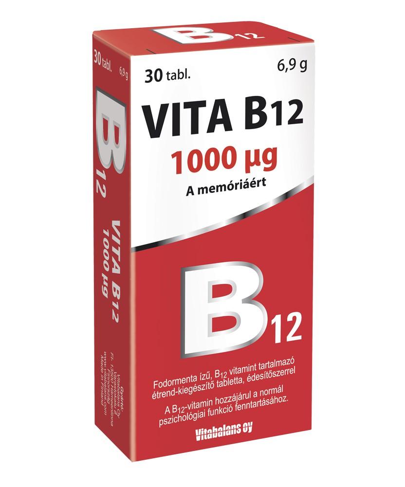 VITABALANS VITA B12 1000MCG TABL. 30X  Vitaminok és Nyomelemek  1,339.00 Dió patika online gyógyszertár internetes gyógyszerr...
