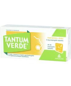 TANTUM VERDE NARANCS+MEZ 3MG SZOPOGATO TABL. 20X  Tabletták náthára 1,804.05 Dió patika online gyógyszertár internetes gyógys...