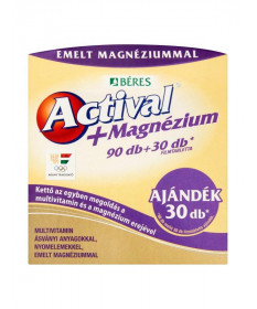 BERES ACTIVAL PLUS MAGNEZIUM FILMTABL. (90+30) Béres Termékkategóriák 4,879.00 Dió patika online gyógyszertár internetes gyóg...