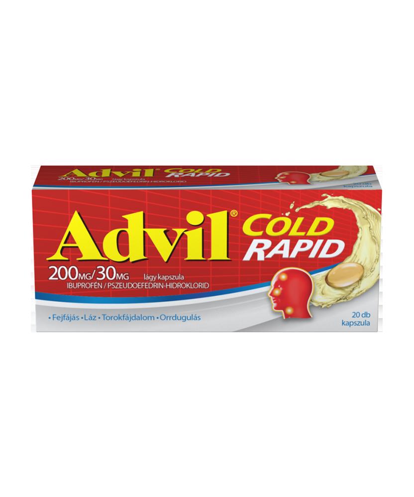 ADVIL COLD RAPID 200MG/30MG LAGY KAPSZ. 20X  Tabletták náthára 2,089.00 Dió patika online gyógyszertár internetes gyógyszerre...
