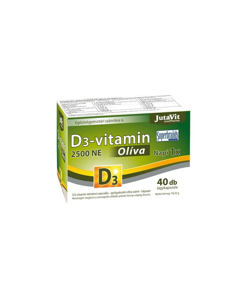 JUTAVIT D3-VITAMIN 2500NE OLIVA KAPSZ. 100X JutaVit Termékkategóriák 1,339.00 Dió patika online gyógyszertár internetes gyógy...