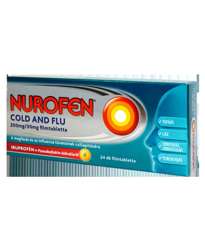 NUROFEN COLD AND FLU 200MG/30MG FILMTABL. 24X  Tabletták náthára 1,879.00 Dió patika online gyógyszertár internetes gyógyszer...
