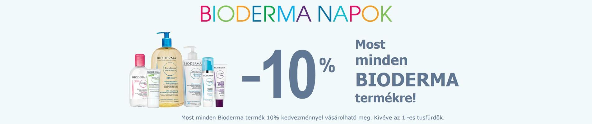 Jelenlegi BIODERMA akciónkban  most minden terméket 10% kedvezménnyel vásárolhat meg!  (Kivéve az 1l-es tusfürdők)